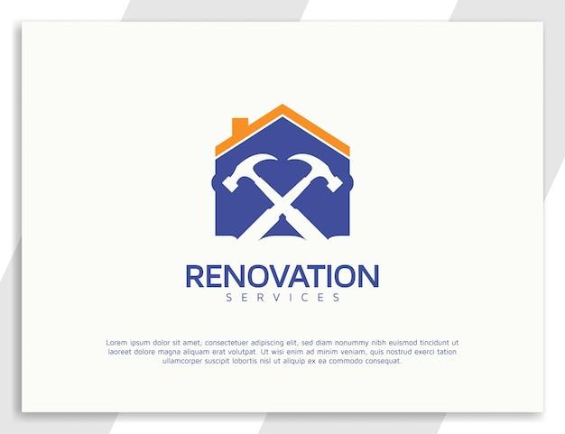 Logodesign für renovierungsdienstleistungen mit hammer- und wohnkonzept