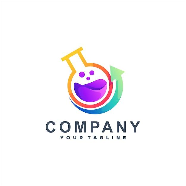 Logodesign mit chemischem flüssigkeitsverlauf