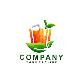 Logodesign mit farbverlauf für saftgetränke