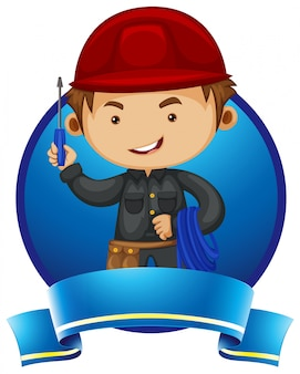 Logodesign mit mechaniker und werkzeugen