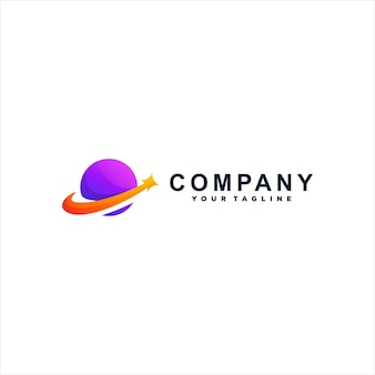 Logodesign mit violettem planetenverlauf