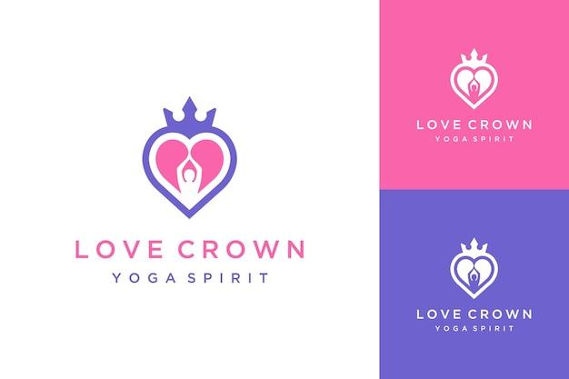 Logodesign von modernem yoga oder menschen mit herzen und kronen