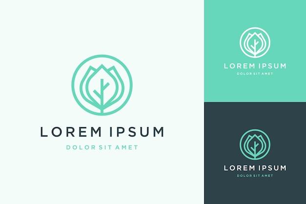 Logodesign von pflanzen oder blättern mit einem kreis