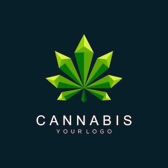Logoillustration cannabis geometrischer farbverlauf bunter stil
