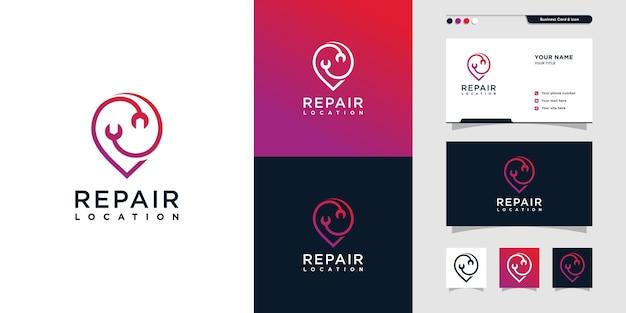 Logoillustration reparieren mit linie kunstdesign pin mechaniker standort finden premium-vektor