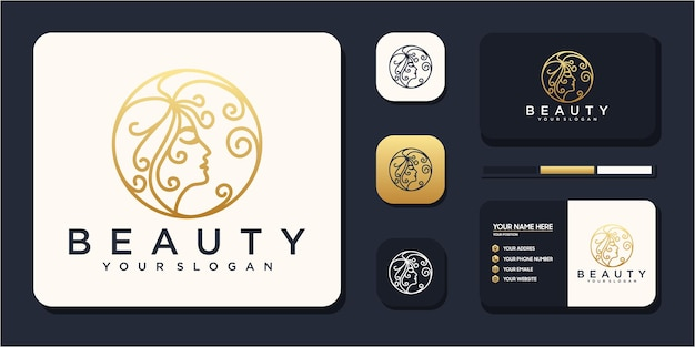 Logoinspiration für schönheitsfrauen mit visitenkarte für hautpflegesalons und spas