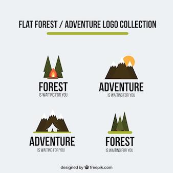 Logos abenteuer in flaches design gesetzt