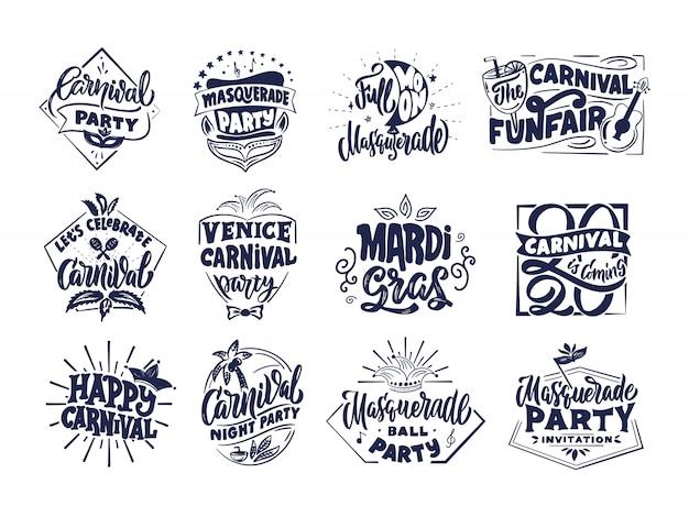 Logos, briefmarken, phrasen, schriftzugkompositionen der karnevalssammlung. große auswahl an festivalvorlagen