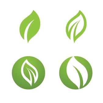 Logos des grünen baumblattökologienaturelementvektors