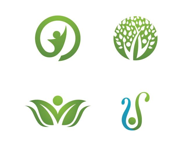 Logos des grünen blattökologienaturelementvektorsymbols