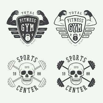 Logos für das fitnessstudio, etiketten