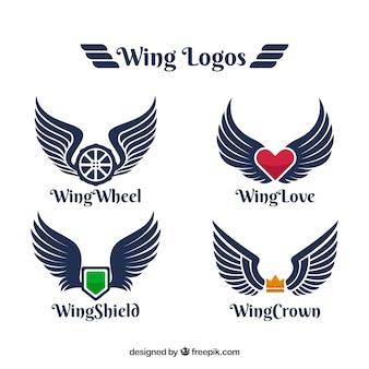 Logos mit farbelement und flügeln