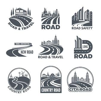 Logos mit geschwungenen bahnen und platz für ihren text