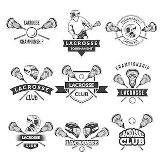 Logos oder etiketten für lacrosse-team im sport college