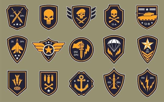 Logos von militärgruppen Premium Vektoren