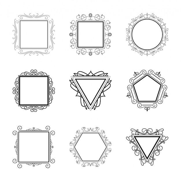Logos vorlage blüht elemente kalligraphisch