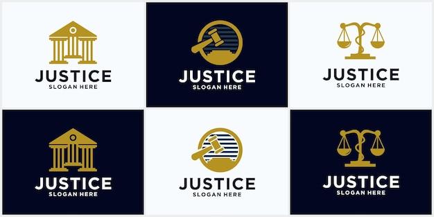 Logosammlung der anwaltskanzlei gerechtigkeitslogo, hammerillustration, anwalt, anwaltsetikett, juristische firmenabzeichensammlung, rechtliches icon-design.