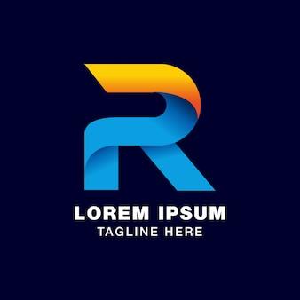 Logoschablone des buchstaben 3d r in der steigungsart