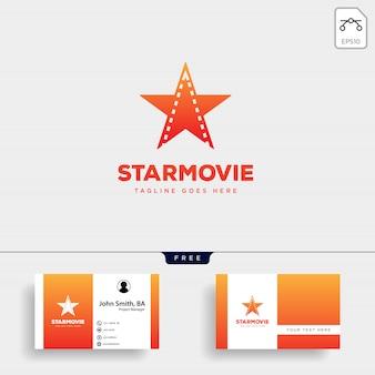 Logoschablonenvektorillustrations-ikonenelement des sternfilmkinos einfaches lokalisiert