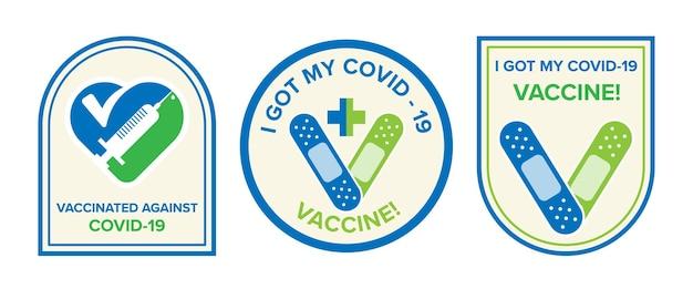 Logosymbol mit text ich habe meinen covid-19-impfstoff für geimpfte personen bekommen. aufkleber für die coronavirus-impfstoffkampagne. medizin- und gesundheitskonzepte
