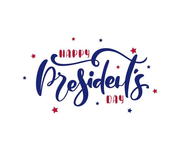 Logotext happy presidents day usa mit sternen und band. vektor-illustration handgezeichnete schriftzug kalligraphisches design.