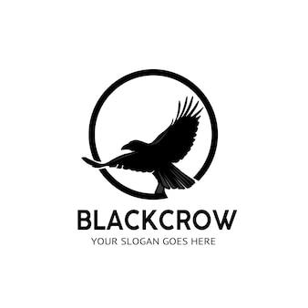 Logovektor der schwarzen krähe