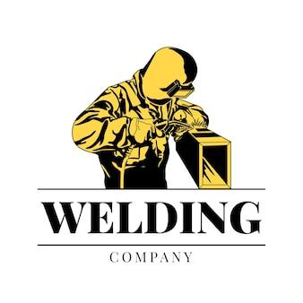 Logovorlage mit einem schweißer mit details
