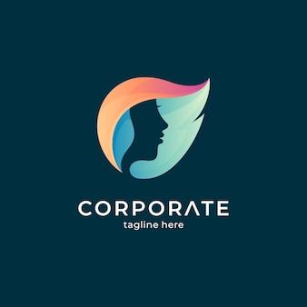 Logovorlage mit farbverlauf von blatt und frauenkopf