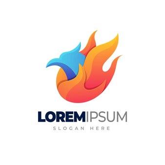 Logovorlage mit heißem vogelverlauf gradient