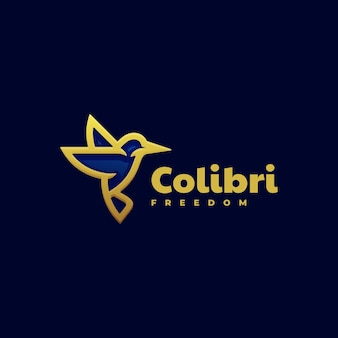 Logovorlage von colibri flying line art style