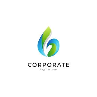 Logovorlage von wassertropfenkombinationsblatt mit farbverlaufsfarben
