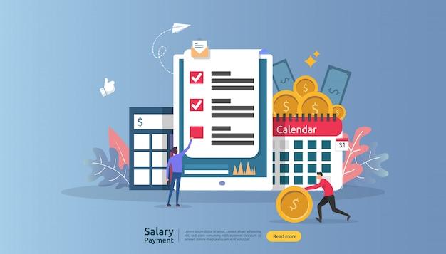 Lohn- und gehaltskonzept. gehaltszahlung jahresbonus. auszahlung mit papier, taschenrechner und personencharakter.