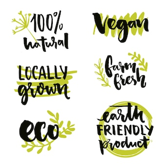 Lokal angebautes etikett und veganes zeichen gvo-freies aufkleberdesign vector 100 natürliche abzeichen-set