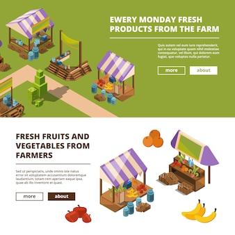 Lokale bauernbanner. lebensmittelmarktplätze im freien mit gemüsefleischfisch trägt gemischtwarenladenschablone früchte