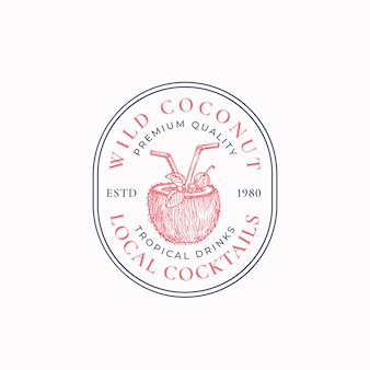 Lokale cocktails abstraktes vektorzeichensymbol oder logoschablone handgezeichnete kokosnusshälfte mit trinkp...