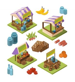 Lokale farm isometrisch. marktplätze im freien mit bildern des landlebensmittelobstgemüsefleisch-industriespeichers 3d