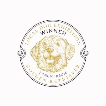 Lokale hundeausstellung rahmenabzeichen oder logo-vorlage handgezeichnete golden retriever rasse gesichtsskizze