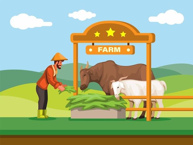 Lokale landwirte füttern die kuh und die ziegetraditionelle tierfarm im asiatischen illustrationsvektor