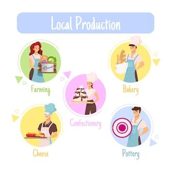 Lokale produktionsvorlage. landwirtschaft. bäckerei. süßwaren. keramik. käse.