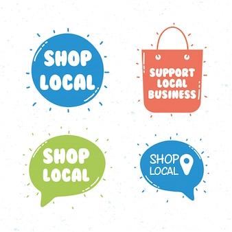 Lokale shop-kampagne mit schriftzügen in sprechblasen und einkaufstasche
