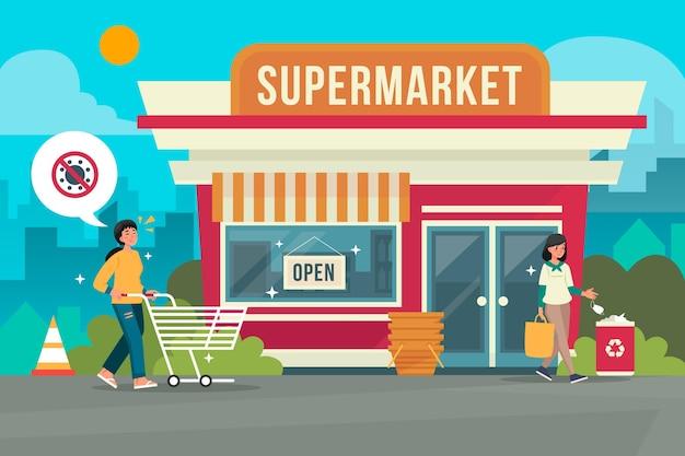 Lokale supermärkte eröffnen geschäft nach quarantäne wieder