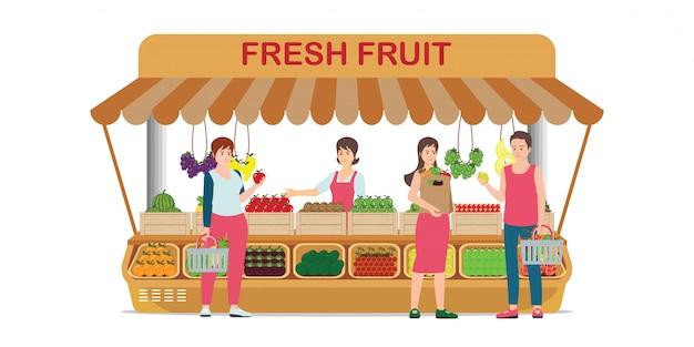 Lokaler bauernhofmarktfruchtshop mit obstverkäufer.