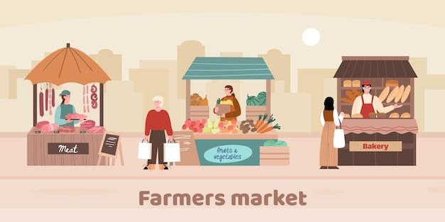 Lokaler bauernmarkt auf der stadtstraße mit frischem bauernhoflebensmittel eine vektorillustration