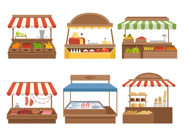 Lokaler markt. street food orte steht im freien bauernhof gemüse obst fleisch und milch bilder