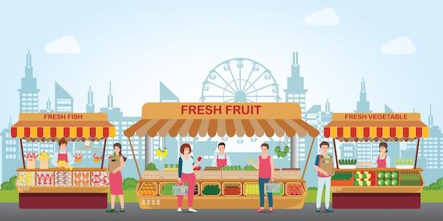 Lokaler marktplatz mit frischen lebensmitteln.