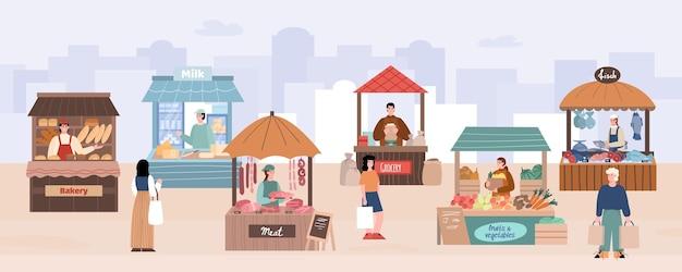 Lokaler straßenmarkt mit bauern- und käuferkarikaturvektorillustration
