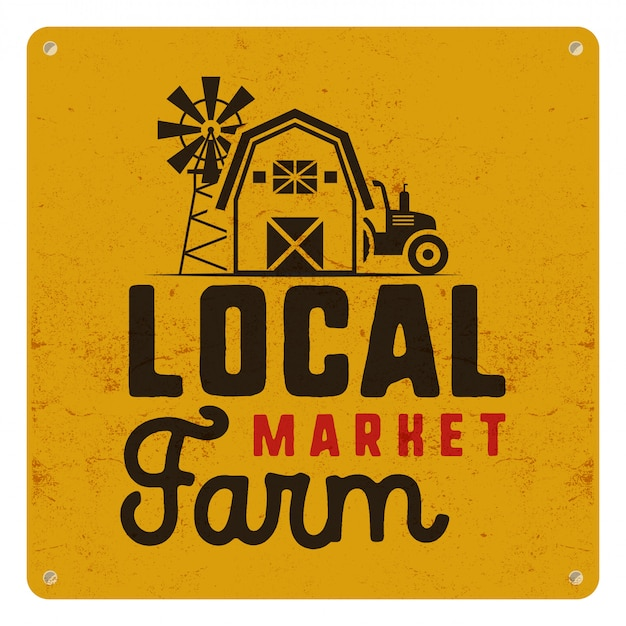 Lokales bauernhofmarktplakat mit landwirtsymbolen und elementen - traktor, windmühle, scheunenillustration