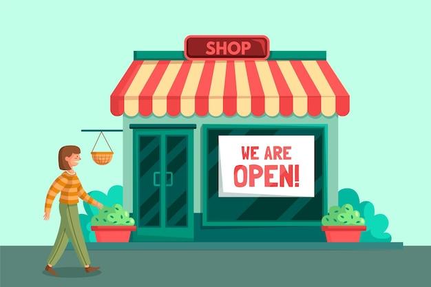 Lokales geschäft wiedereröffnet und mit einem kunden