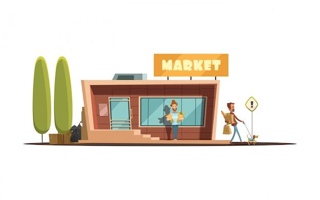 Lokales marktgebäude mit kundenbäumen und hundekarikaturvektorillustration