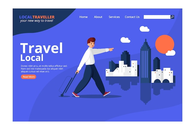 Lokales tourismus-landingpage-design